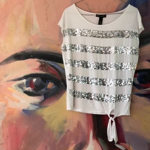 INC Women's Sequin striped white Top Size M